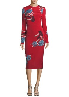 Diane von Furstenberg Tailored Long-Sleeve Floral Sheath Dress