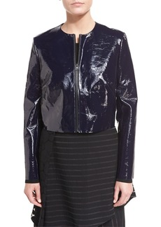 Diane Von Furstenberg Tailored Zip-Front Lamb Leather Jacket