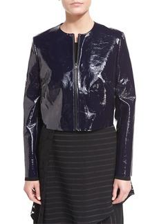 Diane von Furstenberg Tailored Zip-Front Lamb Leather Jacket