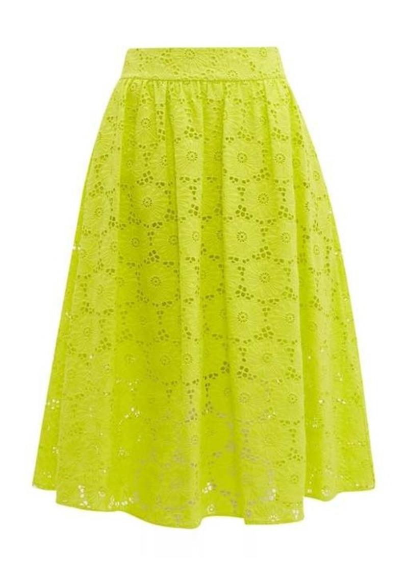 Diane Von Furstenberg Tara high-rise broderie-anglaise cotton midi skirt