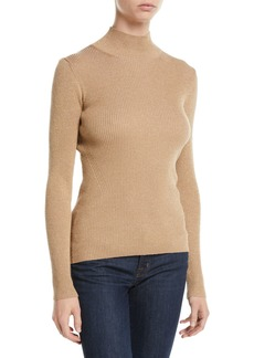 Diane von Furstenberg Tess Metallic Ribbed-Knit Turtleneck Sweater