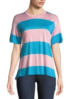 Diane Von Furstenberg Tie-Back Striped Jersey Tee