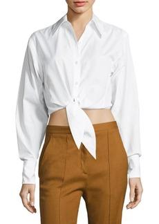 Diane von Furstenberg Tie-Front Cropped Shirt