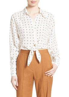Diane von Furstenberg Tie Front Dot Silk Shirt