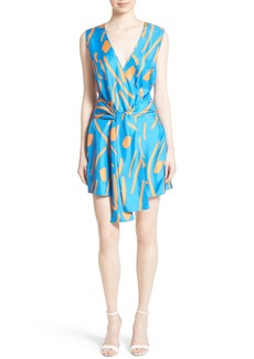 Diane von Furstenberg Tie Front Faux Wrap Silk Dress