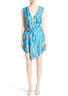 Diane von Furstenberg Tie Front Faux Wrap Silk Dress