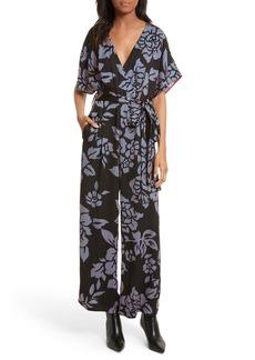 Diane von Furstenberg Tie Front Print Jumpsuit