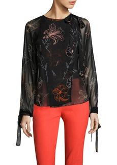 Diane von Furstenberg Tie-Neck Slit Silk Blouse