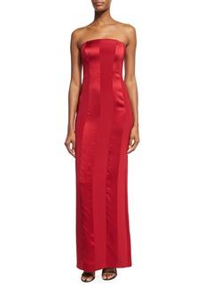 Diane von Furstenberg Tonal Satin-Stripe Strapless Tailored Gown