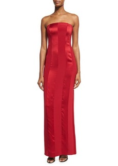 Diane von Furstenberg Tonal Satin-Stripe Strapless Tailored Gown