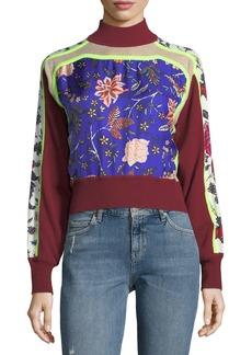 Diane Von Furstenberg Turtleneck Cropped Mixed-Print Pullover
