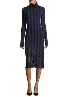 Diane von Furstenberg Turtleneck Long-Sleeve Knit Intarsia Midi Dress