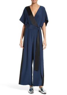 Diane von Furstenberg Two-Tone Silk Faux Wrap Jumpsuit