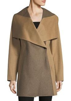 Diane von Furstenberg Two-Tone Wool-Blend Topper Coat