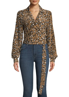 Diane von Furstenberg V-Neck Animal Wrap Silk Blouse