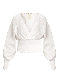 Diane Von Furstenberg V-neck cotton cropped blouse