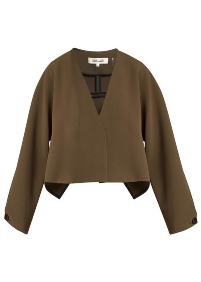 Diane Von Furstenberg V-neck cropped crepe jacket
