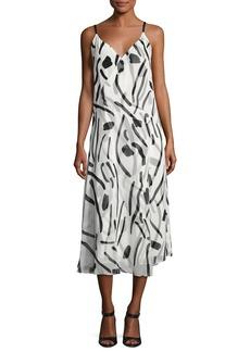 Diane von Furstenberg V-Neck Crossover Silk Dress