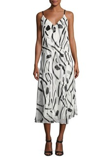 Diane von Furstenberg V-Neck Crossover Silk Dress