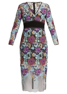 Diane Von Furstenberg V-neck floral-lace dress