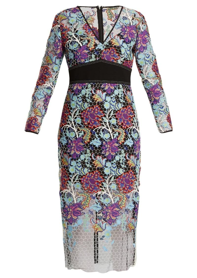 Diane Von Furstenberg V-neck floral-lace dress
