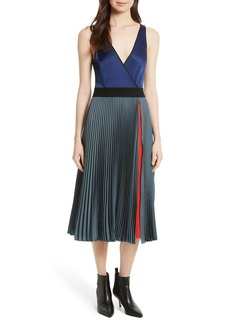 Diane von Furstenberg V-Neck Pleated Wrap Dress