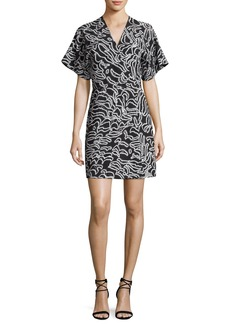 Diane von Furstenberg V-Neck Short-Sleeve Flare Mini Dress