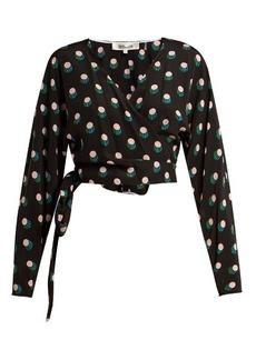 Diane Von Furstenberg V-neck silk-crepe wrap top