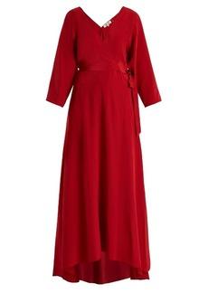 Diane Von Furstenberg V-neck wrap silk crepe de Chine gown