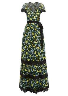 Diane Von Furstenberg Victorious lemon-embroidered lace wrap dress