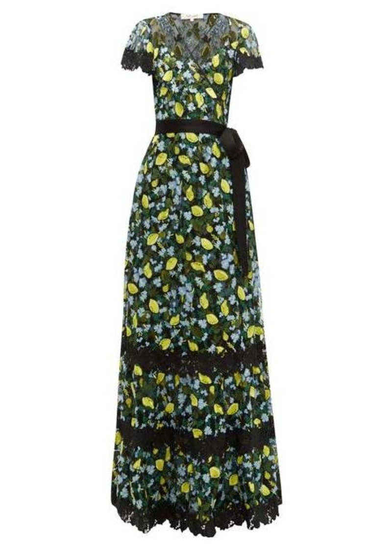 Diane Von Furstenberg Victorious lemon-embroidered lace wrap dress