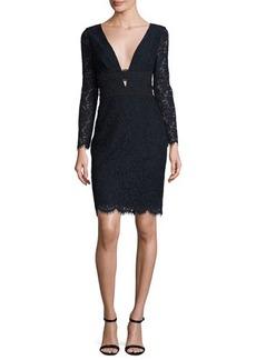 Diane von Furstenberg Viera Lace Long-Sleeve V-Neck Cocktail Dress