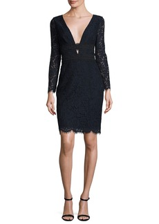 Diane von Furstenberg Viera Lace Long-Sleeve V-Neck Cocktail Dress