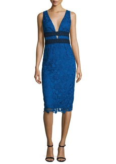 Diane von Furstenberg Viera Lace Sleeveless V-Neck Sheath Dress