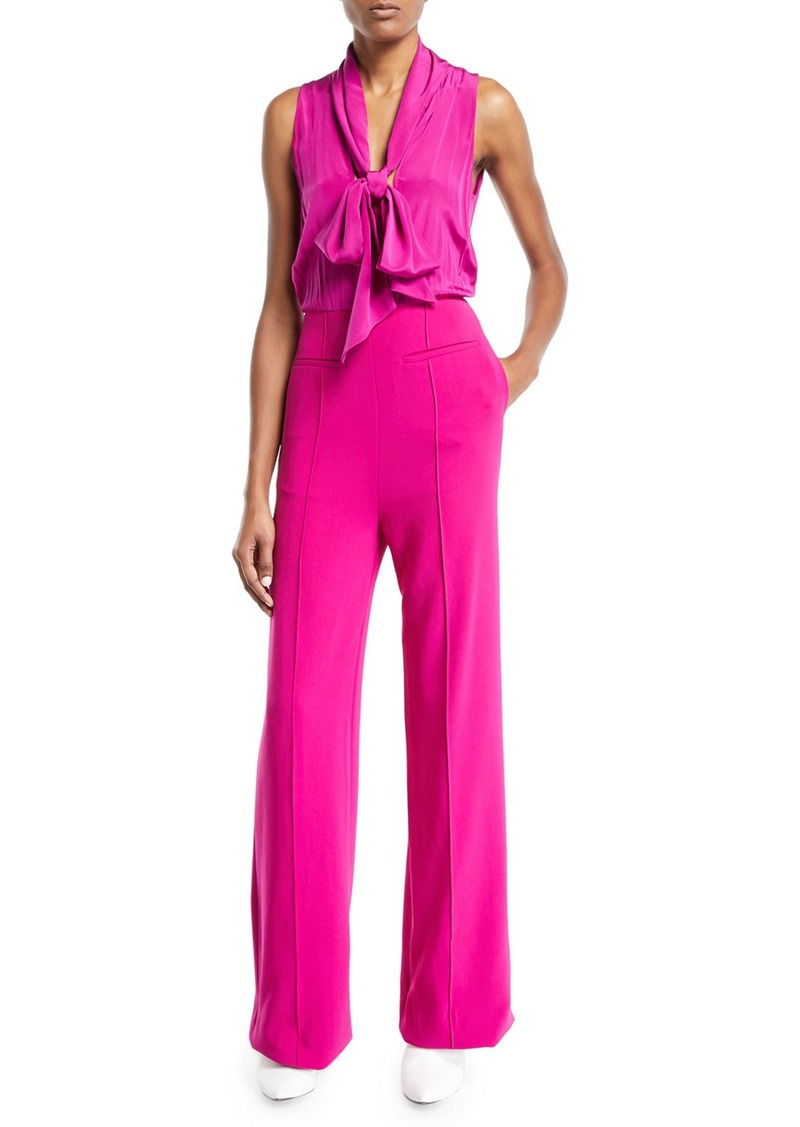 Diane von Furstenberg Virginie Crepe Open-Back Tie-Neck Sleeveless Jumpsuit