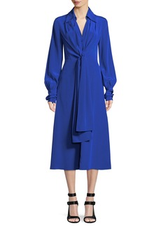 Diane von Furstenberg Von Button-Front Long-Sleeve Silk Midi Dress