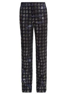 Diane Von Furstenberg Waved-check jacquard straight-leg trousers