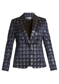 Diane Von Furstenberg Waved-check single-breasted jacquard jacket