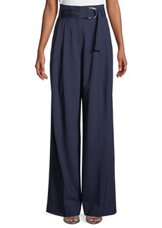 Diane von Furstenberg Wide-Leg Belted Wool Pants