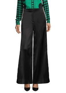 Wide-Leg Ribbon Pants