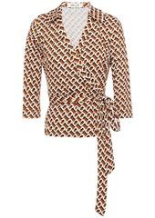 Diane Von Furstenberg Woman Abigail Printed Silk-jersey Wrap Top Tan