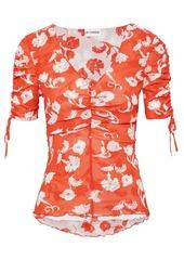 Diane Von Furstenberg Woman Abriella Reversible Ruched Floral-print Stretch-mesh Top Magenta