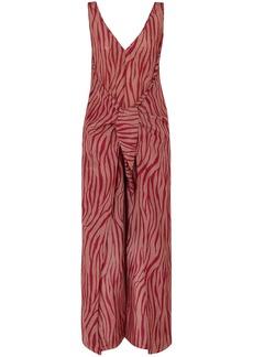 Diane Von Furstenberg Woman Acella Tie-front Tiger-print Cotton And Silk-blend Voile Jumpsuit Antique Rose