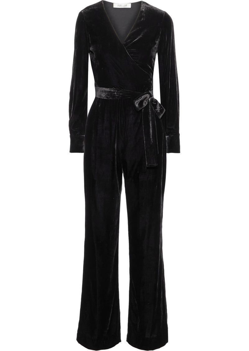 Diane Von Furstenberg Woman Addie Wrap-effect Velvet Jumpsuit Black