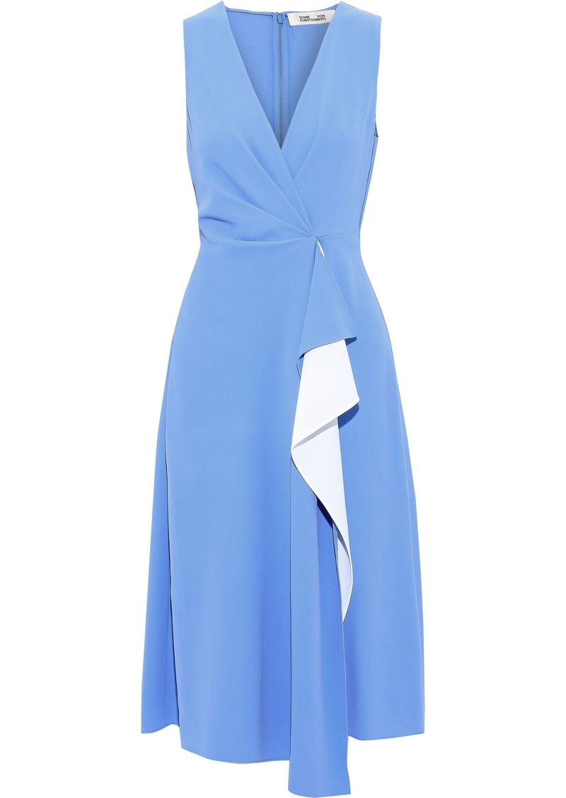 Diane Von Furstenberg Woman Addison Draped Two-tone Crepe Dress Light Blue