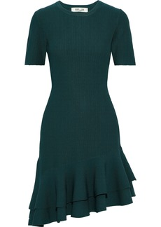 Diane Von Furstenberg Woman Adeline Ribbed-knit Mini Dress Teal