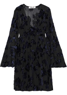 Diane Von Furstenberg Woman Adelita Ruffle-trimmed Metallic Devoré-chiffon Mini Dress Black
