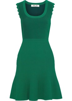 Diane Von Furstenberg Woman Adi Flared Ribbed-knit Mini Dress Forest Green