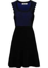 Diane Von Furstenberg Woman Adi Flared Ribbed-knit Mini Dress Black