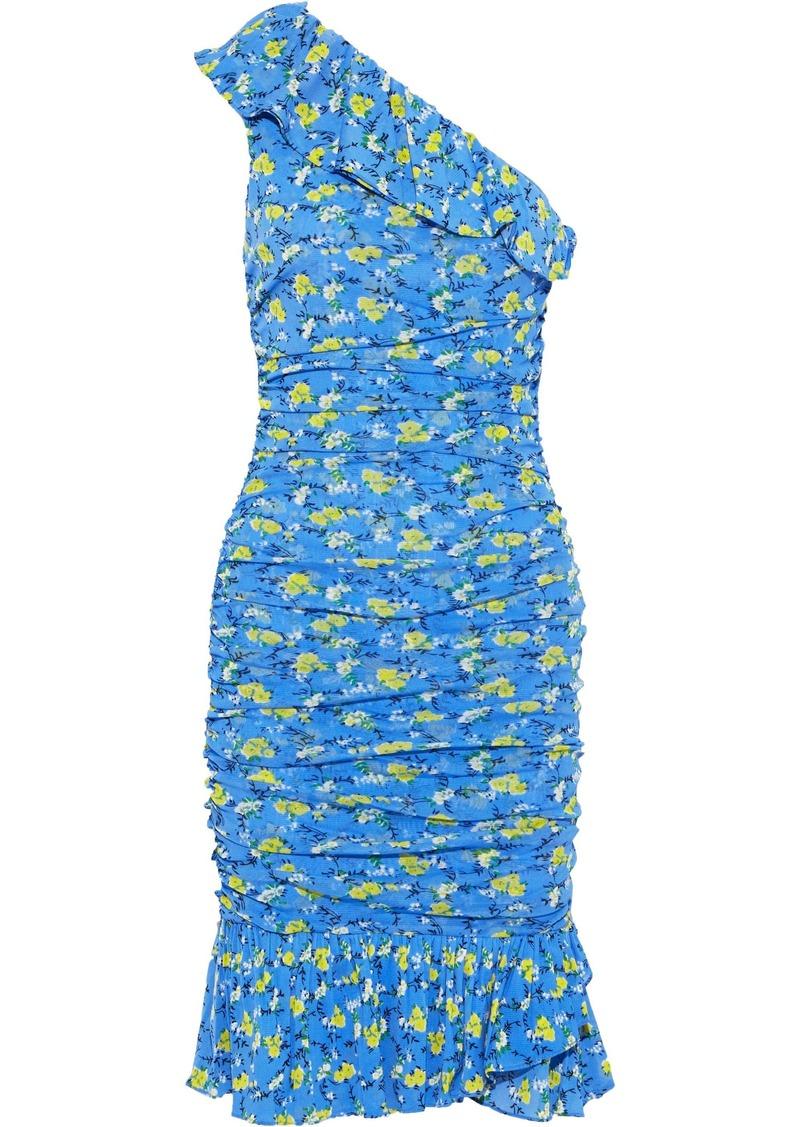 Diane Von Furstenberg Woman Aerin One-shoulder Ruched Floral-print Stretch-knit Dress Light Blue